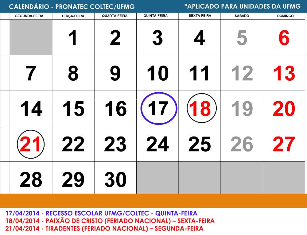 Comunicado: Calendário da Semana Santa - PRONATEC COLTEC/UFMG